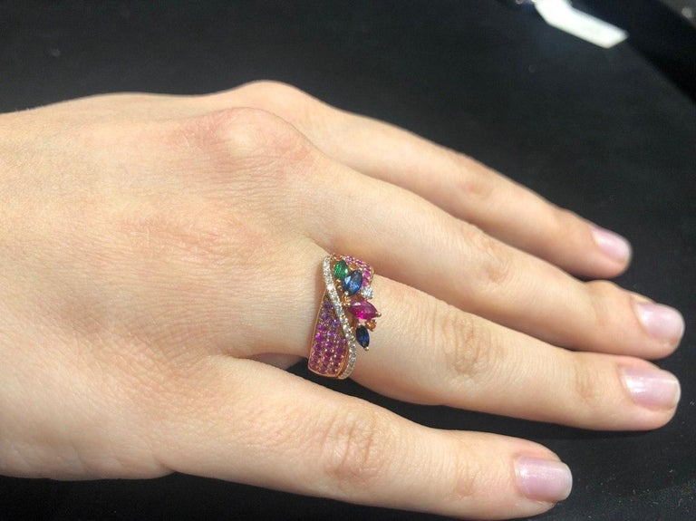 Round Cut Colorful Pink Sapphire Emerald Ruby Tsavorite Diamond Cocktail Rose Gold Ring For Sale