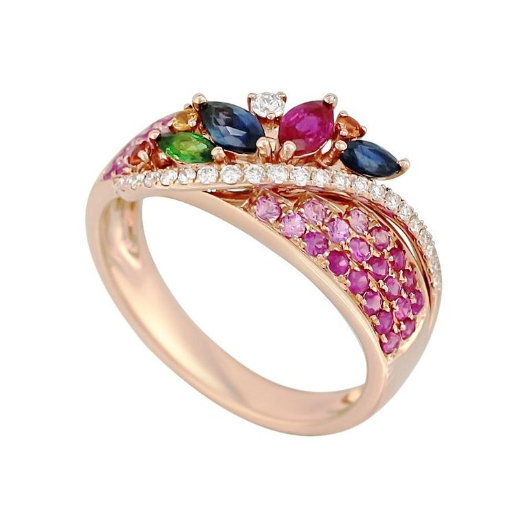 Colorful Pink Sapphire Emerald Ruby Tsavorite Diamond Cocktail Rose Gold Ring For Sale