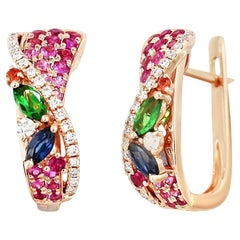 Colourful Pink Sapphire Emerald Ruby Tsavorite Diamond Rose Gold Drop Earrings