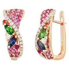 Colourful Pink Sapphire Emerald Ruby Tsavorite Diamond Rose Gold Drop Earrings