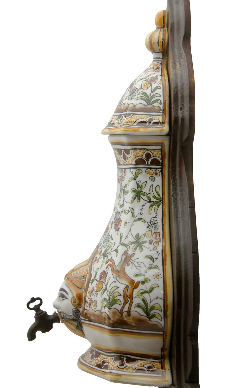 Colourful Portugese Cistern/Humidifier with 17th Century Flowers & Masque Decor For Sale 3