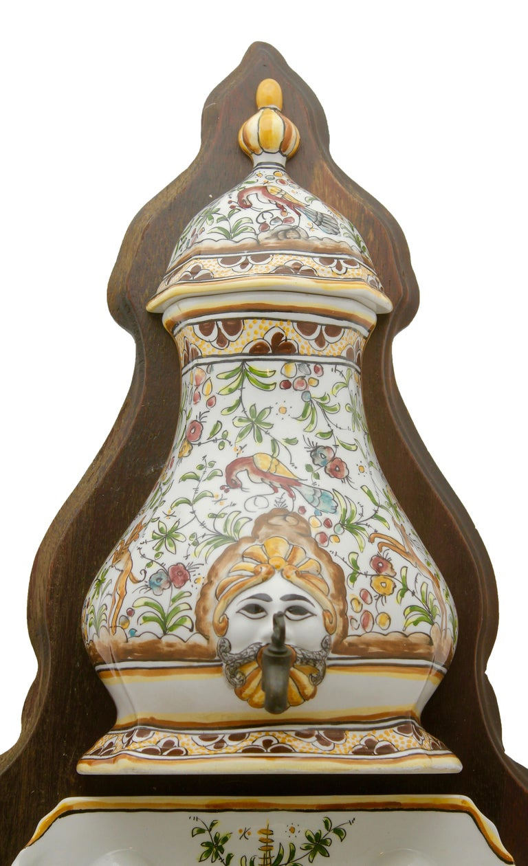 Glazed Colourful Portugese Cistern/Humidifier with 17th Century Flowers & Masque Decor For Sale