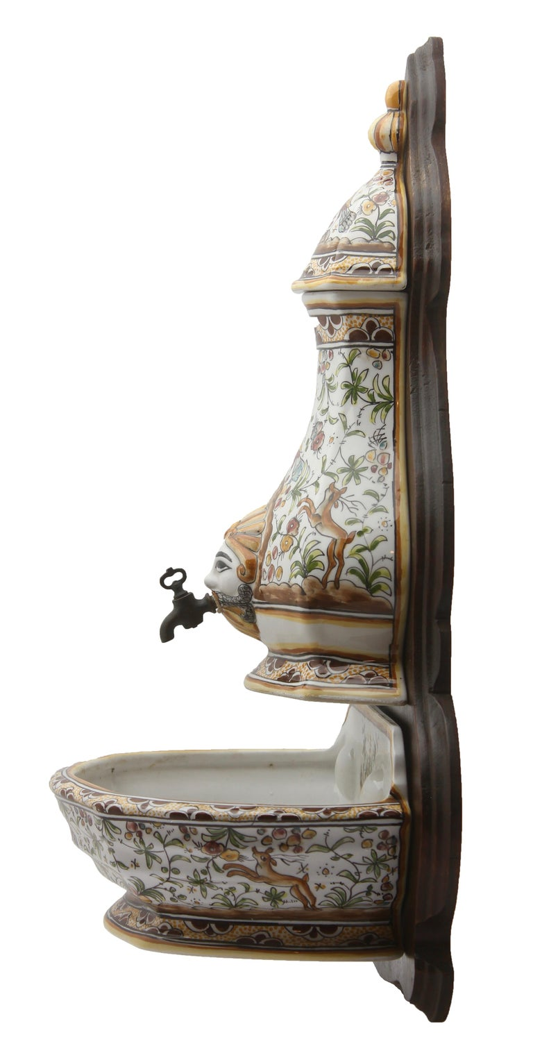 Ceramic Colourful Portugese Cistern/Humidifier with 17th Century Flowers & Masque Decor For Sale