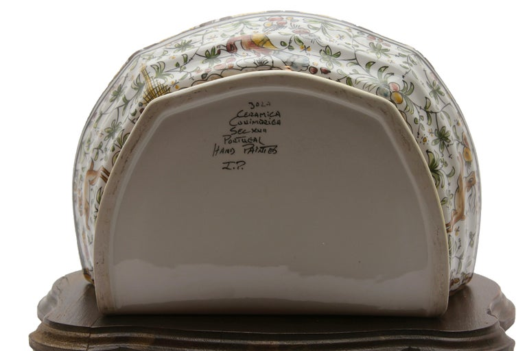 Colourful Portugese Cistern/Humidifier with 17th Century Flowers & Masque Decor For Sale 1