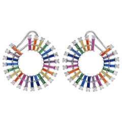 Colourful Zirconia Circle Gold-Plated Silver Earrings