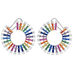 Colourful Zirconia Circle Gold Plated Silver Earrings