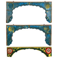 Colourfully Painted Carved Wooden Arch Frames, 20th Century