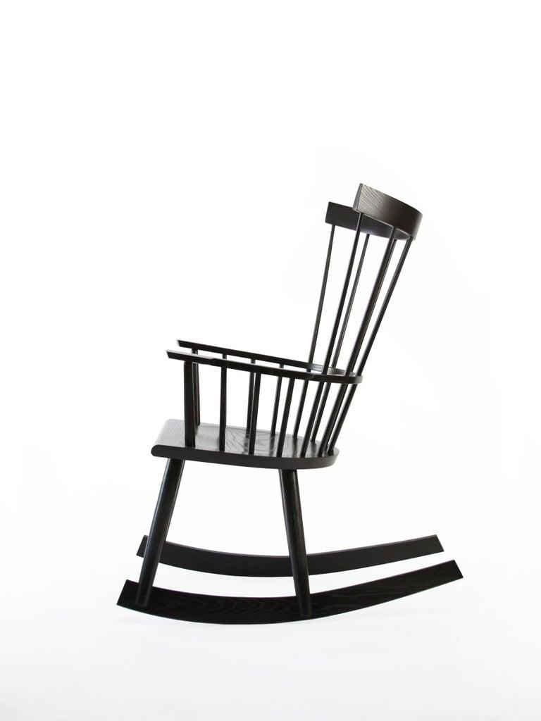 Scandinavian Modern Colt Rocker, Contemporary Windsor Rocking Chair in Ebony Stain on Ash Wood For Sale