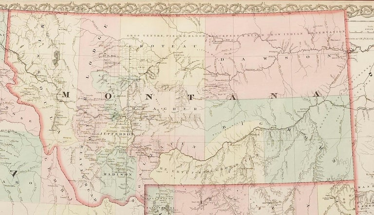 This is a remarkable large format map of the Territories of Montana, Wyoming, and Idaho, from a scarce late edition of Colton's Atlas. Published in 1876, the map shows these western states at their early stages of settlement, before any of them had