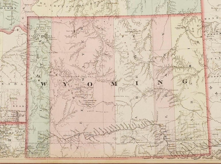 Colton S Hand Colored Map Of Montana Idaho Wyoming Circa 1876