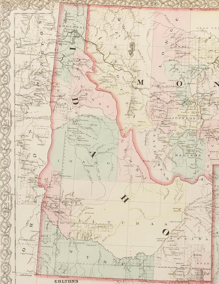 Map of Montana, Idaho & Wyoming, from Colton's Atlas, Antique Hand-Colored, 1876 In Good Condition For Sale In Colorado Springs, CO