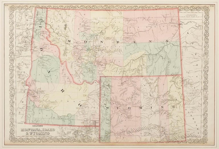 Late 19th Century Map of Montana, Idaho & Wyoming, from Colton's Atlas, Antique Hand-Colored, 1876 For Sale