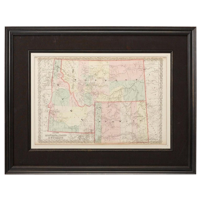 Map of Montana, Idaho & Wyoming, from Colton's Atlas, Antique Hand-Colored, 1876 For Sale