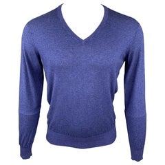 COLTORTI Size M Blue Silk / Cashmere V-Neck Pullover