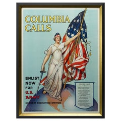 """Columbia Calls"", Antique WWI Poster by Frances Adams Halsted, circa 1916"