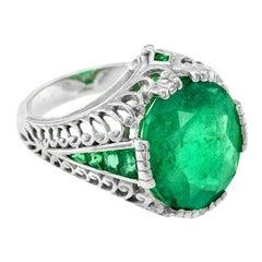Columbia Emerald 6.983 Carat Cocktail Ring