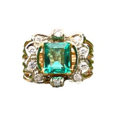 Columbia Emerald and Diamond 18k Yellow Gold Cluster Ring
