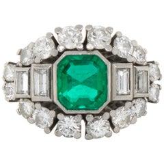 Columbia Emerald and Diamond Platinum Ring