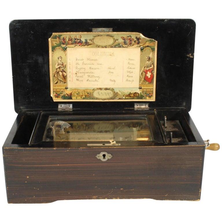 Columbia Six Airs Swiss Cylinder Music Box, circa 1894
