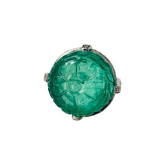 Columbian Carved Emerald and Diamond Engagement Ring in 18k White Gold