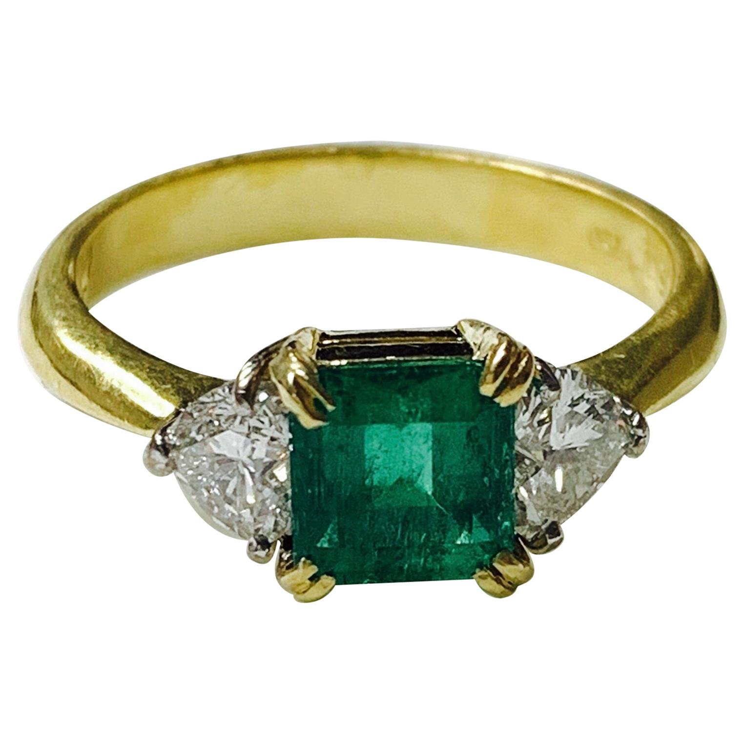Columbian Emerald and Diamond Engagement Ring in 18 Karat White Gold