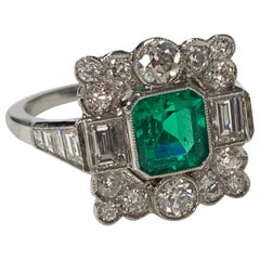 Columbian Emerald and Diamond Engagement Ring in Platinum