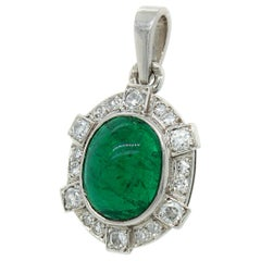 Columbian Emerald Cabochon and Diamond Pendant, France, circa 1920s