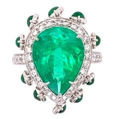 Columbian Emerald Diamond 18 Karat White Gold Cocktail Ring