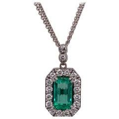 Columbian Emerald Diamond 18 Karat White Gold Pendant Necklace