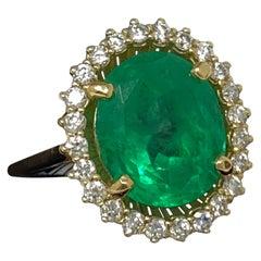 Columbian Emerald Ring with Diamonds Halo