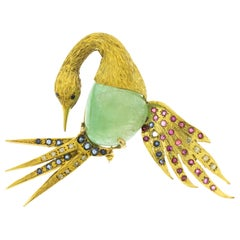 Columbian Emerald Sapphire Diamond 18 Karat Gold Heron Brooch