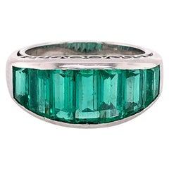Columbian Emerald Step Cut Ring Platinum 4.50 Carat