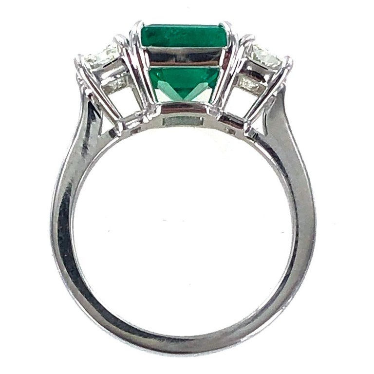 Women's or Men's Colombian Natural Emerald Diamond Platinum Three-Stone Ring GIA Certified For Sale