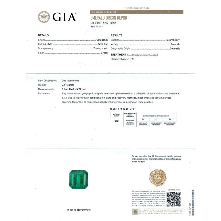 Colombian Natural Emerald Diamond Platinum Three-Stone Ring GIA Certified For Sale 2