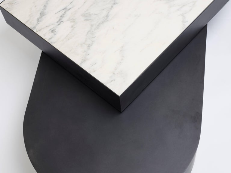 Minimalist Columbus Coffee Table in Blackened Steel and Honed Marble by Jonathan Nesci For Sale