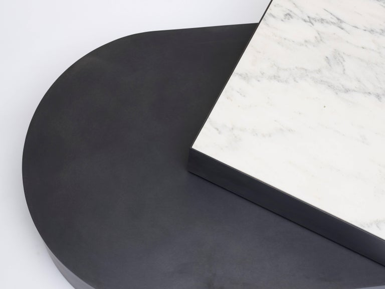 American Columbus Coffee Table in Blackened Steel and Honed Marble by Jonathan Nesci For Sale