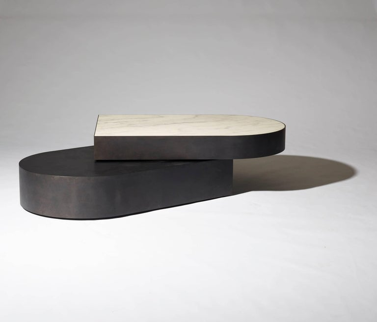 Contemporary Columbus Coffee Table in Blackened Steel and Honed Marble by Jonathan Nesci For Sale