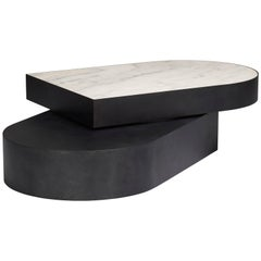 Columbus Coffee Table in Blackened Steel and Honed Marble by Jonathan Nesci