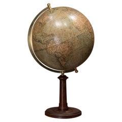 Columbus Erdglobus Mid-Century Modern Wood Paper German Terrestrial Globe, 1950