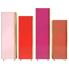 Column 01 Set of 4 Red Cupboards