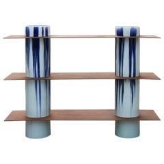 Column '3 lev' Contemporary Shelf in Porcelain and Corten Steel by David Derksen