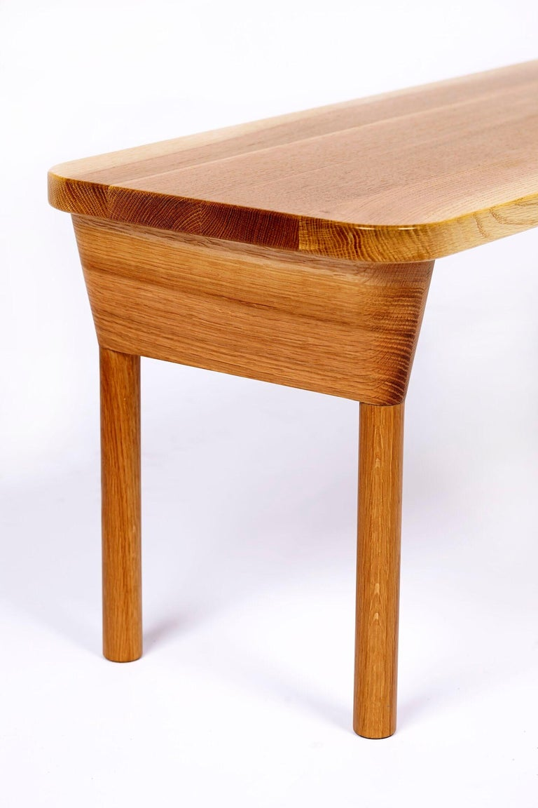 """American """"Column Bench"""" Minimalist Oak and Maple Dining or Side Bench For Sale"""