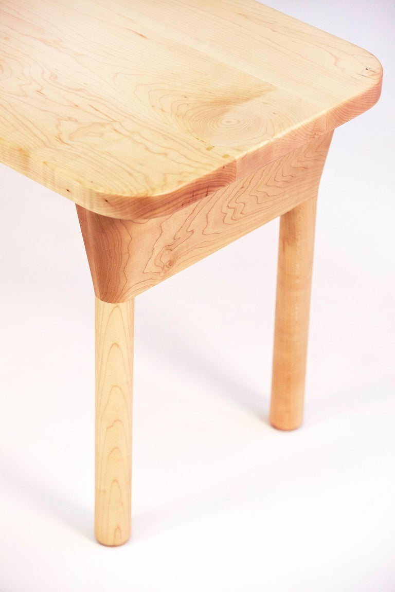 """Contemporary """"Column Bench"""" Minimalist Oak and Maple Dining or Side Bench For Sale"""