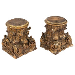 19th Century French Wooden Column Capitals