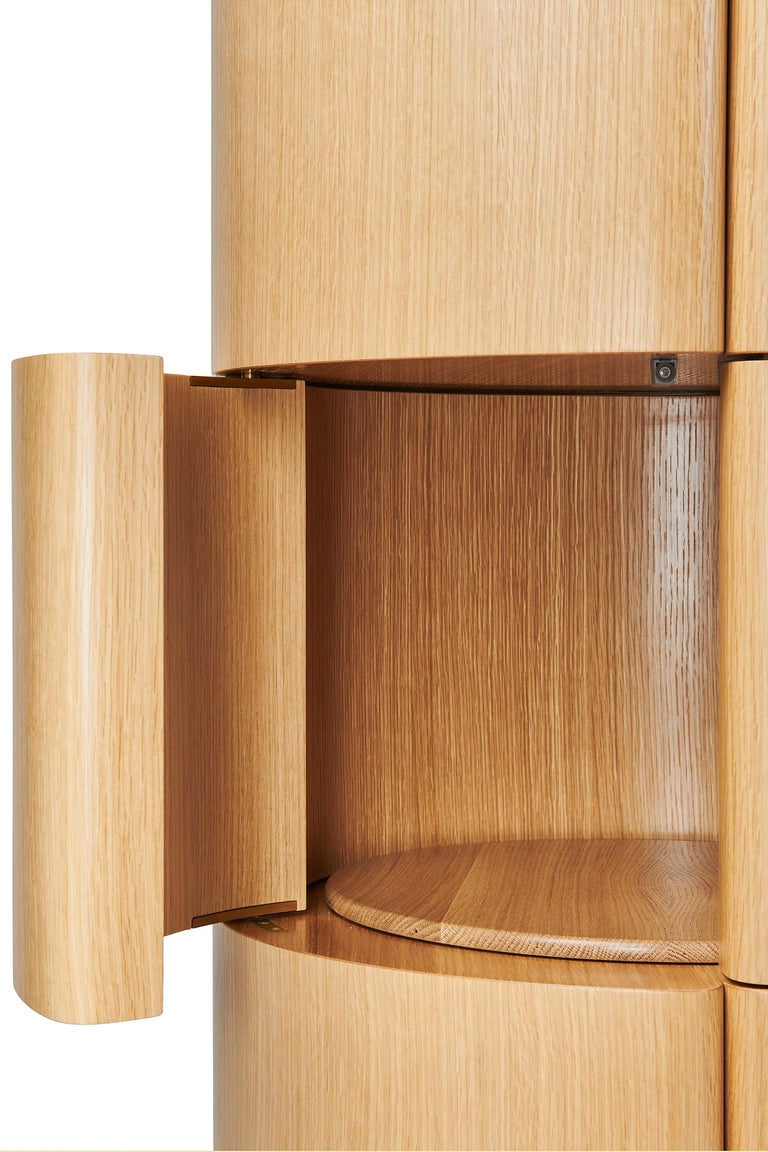 Modern Circular Column Chest and Minibar in Rift White Oak by BlackTable Studio For Sale