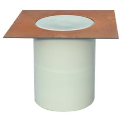 Column Contemporary Side Table in Porcelain and Corten Steel by David Derksen