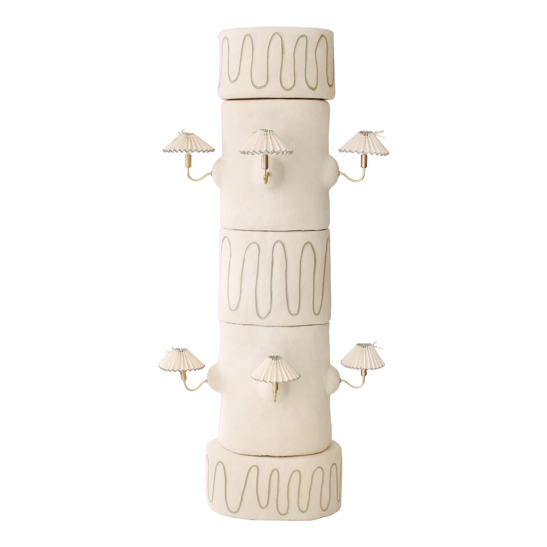 Column Light Sculpture, Ceramic, French Vintage Shades, Floor Lamp