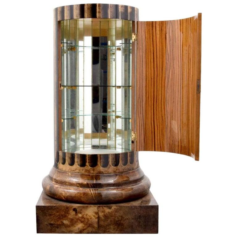 Column Shaped Goatskin Dry Bar, Bar Cabinet by Aldo Tura ...