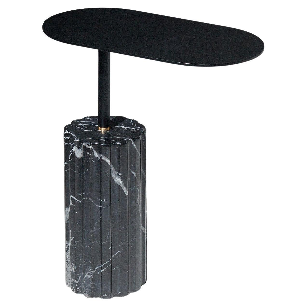 """""""Column Side Table Small"""" Minimalist Marquina Marble Side Table by Aparentment"""