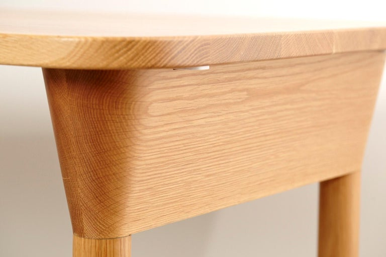 """American """"Column Table"""" Minimalist Solid Wood Oak Dining Table or Desk For Sale"""
